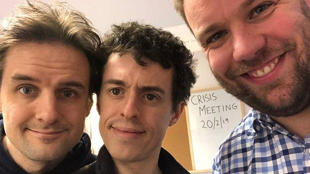 Left to right, Henry Shields, Jonathan Sayer and Henry Lewis will star in the six-episode comedy The Goes Wrong Show. Photo courtesy of the BBC