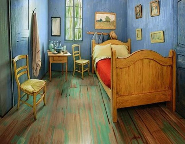 The Art Institute of Chicago has listed a replica of Van Gogh's Bedroom in Aries for rent on Airbnb as part of its exhibit on Van Gogh's bedroom paintings. The room is available to rent for $10 a night and can accommodate two people. Photo by The Art Institute of Chicago/Facebook
