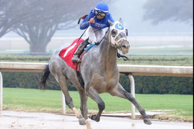 Essential Quality, with Luis Saez up, wins Saturday's Southwest Stakes at Oaklawn Park. Photo by Coady Photography, courtesy of Oaklawn Park