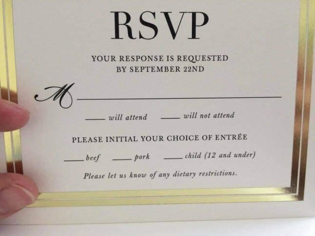 An Oddly Worded List Of Entrees On A Wedding RSVP Card Led Some Guests To Believe Young Children Were Offered As Menu Items The Listed Child 12 And