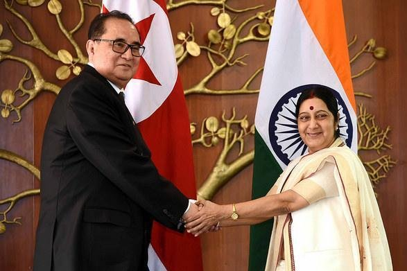North Korean foreign minister Ri Su Yong meeting with India's Sushma Swaraj in a historical visit in 2015. India is implementing U.N. sanctions against Pyongyang. File Photo courtesy of Ministry of External Affairs India/Flickr