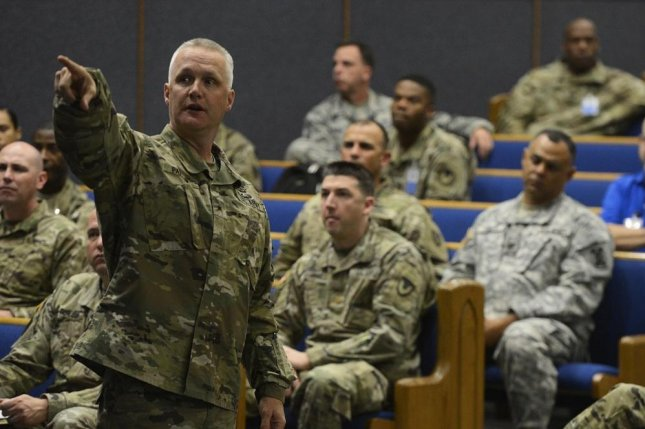 Brig. Gen. Paul H. Pardew, U.S. Army Expeditionary Contracting Command commanding general, briefs the Soldiers participating in Operational Contract Support Joint Exercise-17 on the status of the contracting career field, March 17, 2017. Photo by Tech. Sgt. Chad Chisholm/U.S. Air Force.