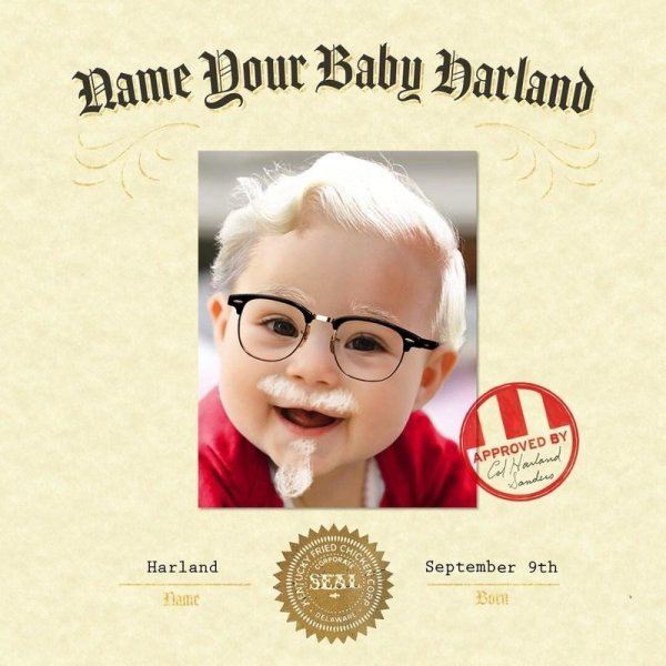 KFC is offering a promotion to award $11,000 in college funds to the first baby named Harland to be born on Sept. 9, Col. Sanders' birthday. Photo courtesy of KFC