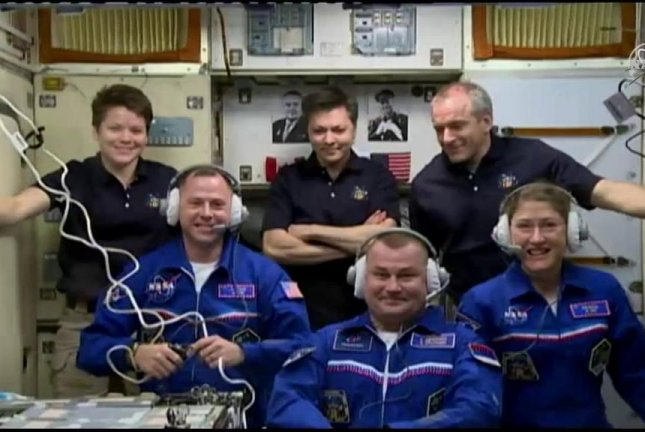 Soyuz MS-12 with 3 crew members on board docks with ISS