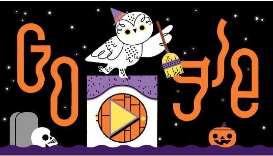 Google lets users go trick-or-treating with a new interactive Doodle. Image courtesy of Google