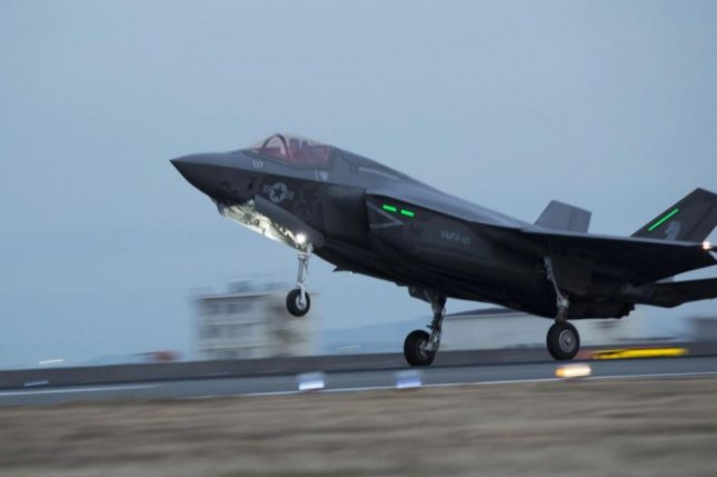 An F-35B fighter plane arrives at Marine Corps Air Station Iwakuni, Japan, where a new squadron, to be known as VMFA-242, was officially formed. Photo by LCpl. Joseph Abrego/U.S. Marine Corps