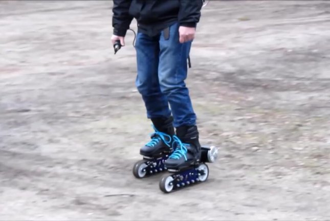 Electric roller blades designed for rough terrain. Screenshot: Storyful