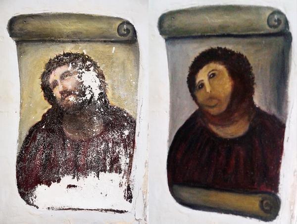 The original Ecce Homo painting on the left. Cecelia Gimenez's restoration is on the right. (Handout by Centro de estudios Borjanos)
