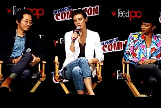 Steven Yeun, Lauren Cohan and Sonequa Martin talk about Season 7 of The Walking Dead at a New York Comic Con fan event at Madison Square Garden. Photo by Karen Butler/UPI