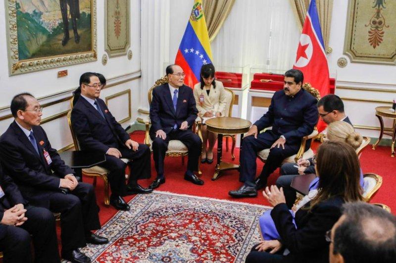 Venezuelan President Nicolas Maduro (C-R) meets with President of the Supreme People's Assembly of North Korea, Kim Yong Nam (C-L), in Caracas, Venezuela, on Tuesday. Photo courtesy of Presidencia Miraflores/EPA-EFE