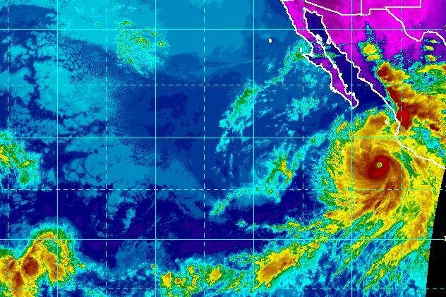 Aletta is now a remnant low, located just west of the larger and more organized Hurricane Bud off the west coast of Mexico. Image courtesy of the National Oceanic and Atmospheric Administration