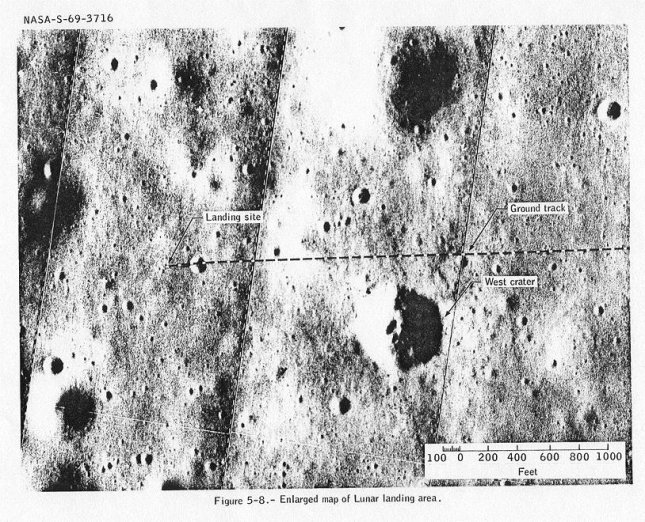 This labeled version of 1:5000 LM Lunar Surface Map LSE 2-48 shows the ground track and the landing site about 60 meters west of Little West Crater. The grid squares are 50 meters on a side. File photo by NASA