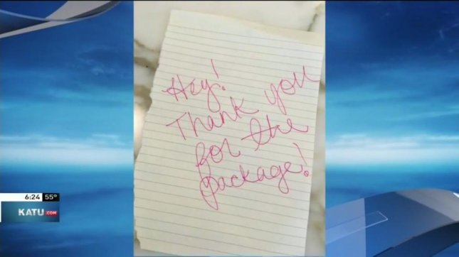 An Oregon woman said this note was left on her porch by the person who stole a package of hair oil from in front of her door. Screenshot: KATU-TV