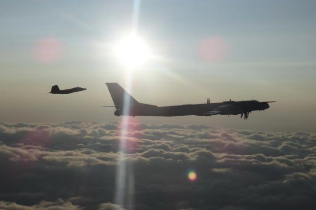 U.S. and Canadian jet fights escorted the Russian Tu-95 bombers as they flew in the Alaskan and Canadian air defense identification zones. Photo courtesy of NORAD