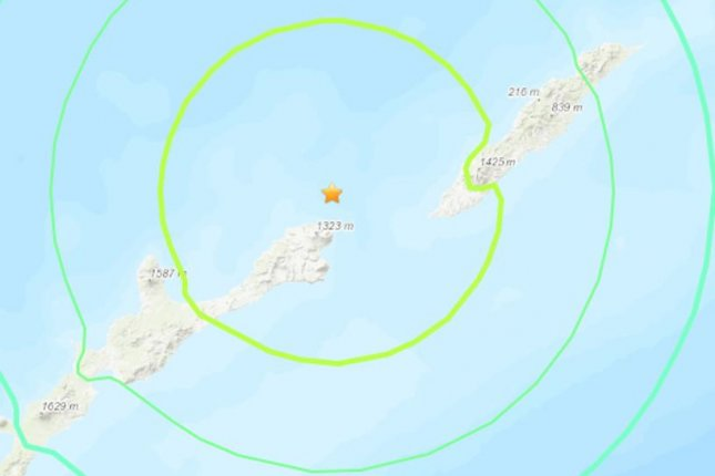 A United States Geological Survey map shows the location of the 6.9-magnitude earthquake that struck between Japan and a Russian island Thursday. Photo courtesy USGS/UPI