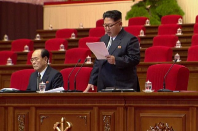 North Korean leader Kim Jong Un delivers a speech during the Seventh Party Congress. Kim reportedly expelled a drunk official during the four-day event held to consolidate his power. File Image screenshot of KCTV