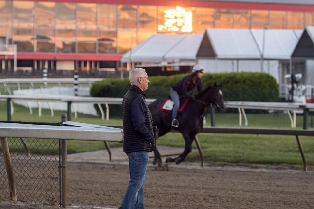Trainer Todd Pletcher watches Kentucky Derby winner and Triple Crown hopeful Always Dreaming working Sunday morning at Pimlico. Photo courtesy Maryland Jockey Club