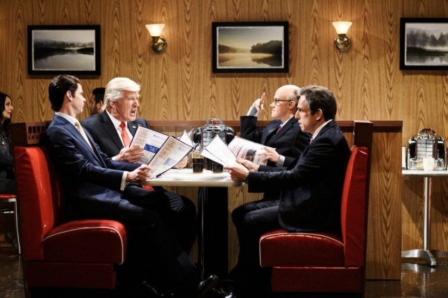 Mikey Day as Donald Trump Jr., Alec Baldwin as President Donald Trump, Kate McKinnon as Rudy Giuliani, Ben Stiller as Michael Cohen and Robert De Niro as Robert Mueller on Saturday Night Live this weekend. Photo by Will Heath/NBC