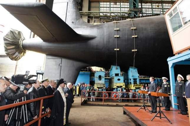 The prototype of the Russian Yasen-M class nuclear-powered submarine, the Severodvinsk, is launched in 2010. File Photo by Vladimir Rodionov/EPA