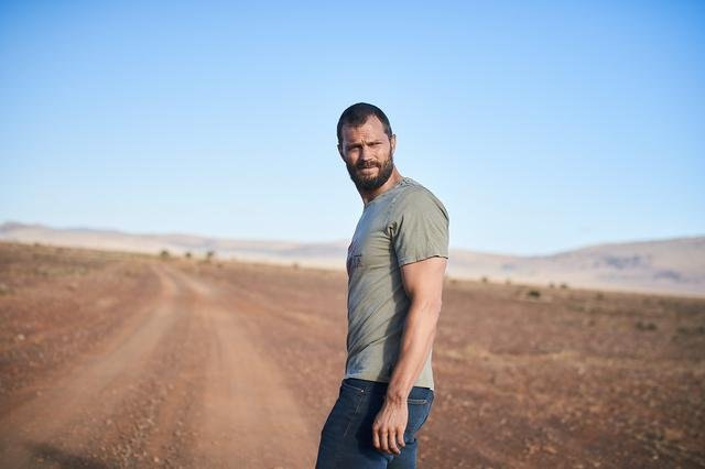 Jamie Dornan looks both ways before crossing the outback road in The Tourist. Photo courtesy of Two Brothers Entertainment