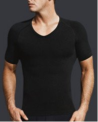 Gently pulls the shoulders back while compressing the core. Targeted ventilation maximizes breathability. Moisture-wicking action keeps you dry. (from www.equmen.com)