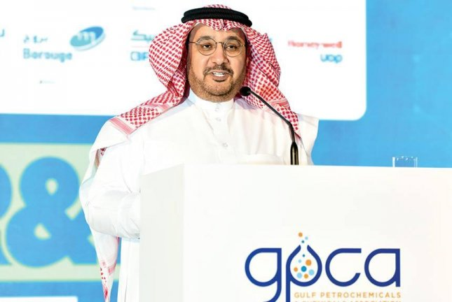 Saudi Aramco's downstream vice president Abdulaziz Al-Judaimi speaks at the Gulf Petrochemicals and Chemicals Association conference in Bahrain Monday about the company's research and ambitions in petrochemicals. Photo courtesy of Saudi Aramco