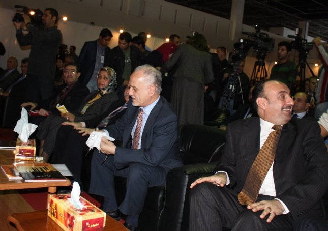 Iraq Oil Minister Hussain al-Shahristani (center), next to Industry and Minerals Minister Fawzi Hariri, at the Iraq Energy Expo in Baghdad. (Ben Lando/UPI Dec. 7 2008)
