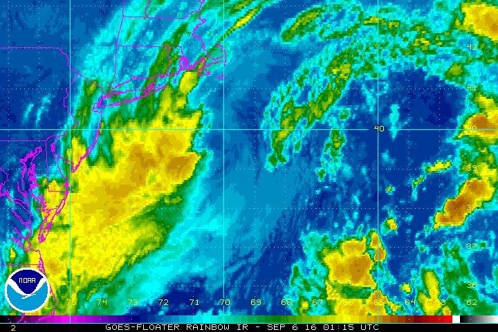 Post-tropical cyclone Hermine moving toward northeast U.S.