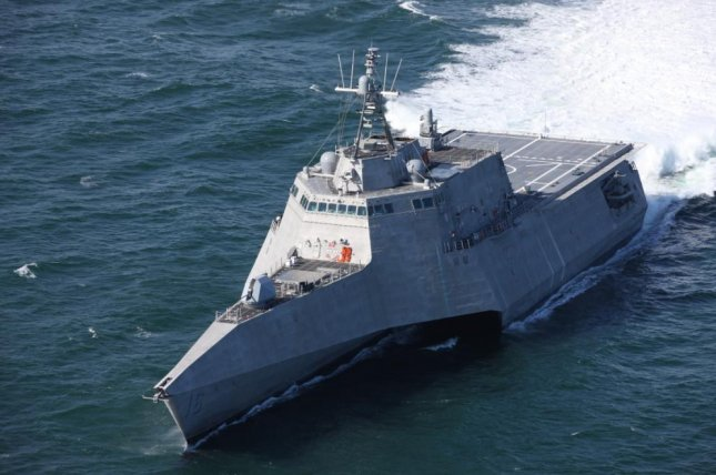 The future USS Tulsa undergoes acceptance trials on April 30. The Navy plans to commission the combat ship Saturday in San Francisco. Photo courtesy Austal USA/U.S. Navy