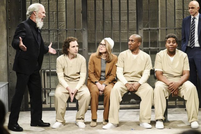 Left to right, Michael Keaton, Kyle Mooney, Kate McKinnon, Chris Redd, Kenan Thompson and Pete Davidson in a scene from this weekend's edition of Saturday Night Live. Photo by Will Heath/NBC