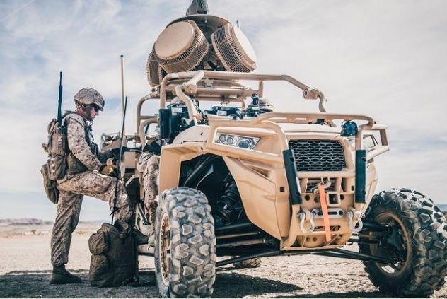 The U.S. Marines are testing a vehicle-mounted laser weapon capable of shooting down drones, the branch announced on Wednesday. Photo courtesy of U.S. Marines