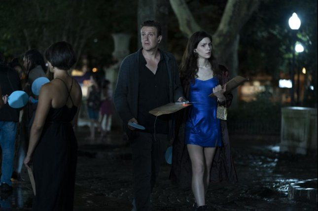 Peter (Jason Segal) meets Simone (Eve Lindley) while playing Dispatches From Elsewhere. Courtesy of AMC