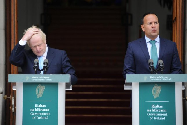 Ireland Prime Minister Leo Varadkar, at right, and British Prime Minister Boris Johnson speak to reporters in Dublin, Ireland, on September 9. File Photo by Aidan Crawley/EPA-EFE