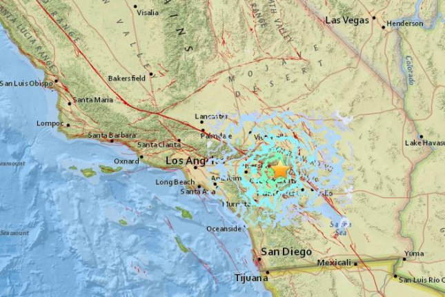 Southern California was jolted early Tuesday by an earthquake about 90 miles east of downtown Los Angeles, which was felt across multiple counties. Photo courtesy USGS