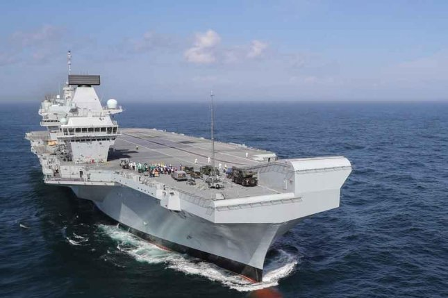 HMS Queen Elizabeth, which is scheduled to become operation in 2020, will be deployed to the Pacific Ocean at an unspecified date, Defense Secretary Gavin Williamson said Monday. Photo courtesy of the U.K. Ministry of Defense