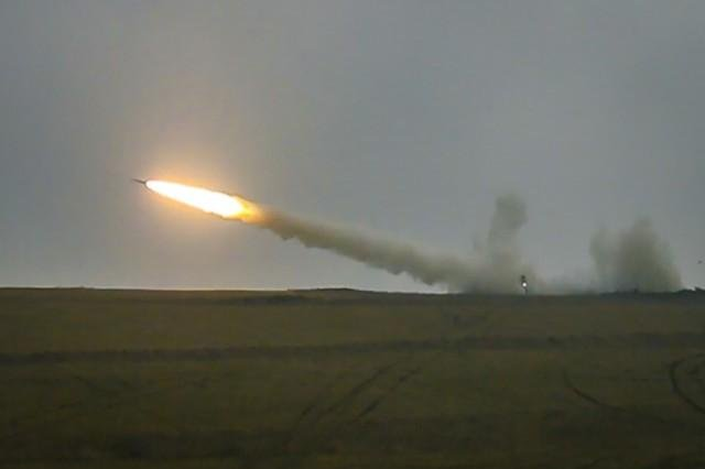 A M270A1 Multiple Launch Rocket System fires a reduced range practice rocket during a live-fire exercise Monday in Grafenwoehr, Germany. This is the first live-fire exercise from a European based unit since 2004. Photo by Zachary Stahlberg/U.S. Army