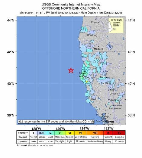 The approximate epicenter of the 6.9-magnitude earthquake March 09, 2014 is seen off the coast of Eureka, California. (U.S. Geological Survey)