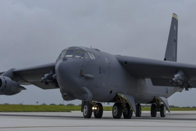 A U.S. Air Force B-52 Stratofortress takes off from Andersen Air Force Base, Guam, for an integrated bomber operation Aug.17, 2016. Photo by Tech Sgt Richard P. Ebensberger/U.S. Air Force