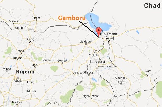 The town of Gamboru lies on the Nigerian side of its border with Cameroon. Graphic courtesy Google Maps