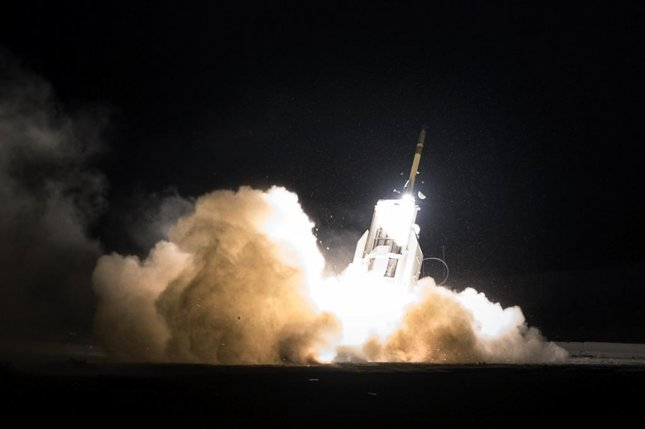 An ATACMS missile is fired during a test launch from HIMARS. U.S. Army photo