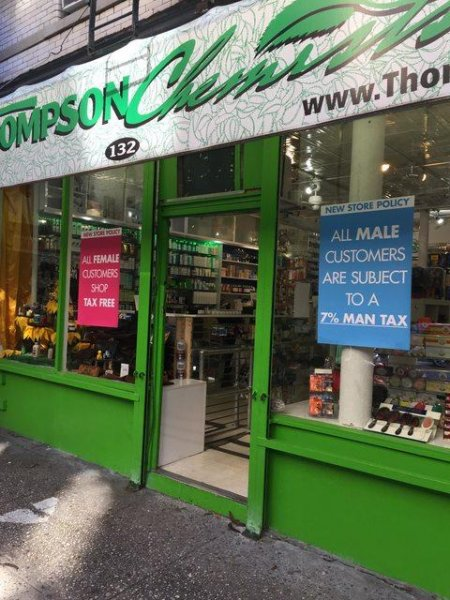 New York City pharmacy Thompson Chemists has instituted a 7 percent man tax on all goods to raise awareness of gender pricing discrimination. No timetable has been set for the new policy which is being run as a promotional discount for women.
