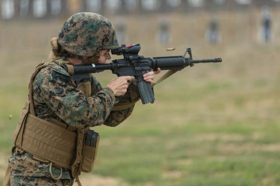 U.S. Marine Corps Sgt. Brettnie Kinker fires an M4 carbine rifle at Wilcox Rifle Range at Marine Corps Base Camp Pendleton in California on Sept. 20, 2018. Photo by Lance Cpl. Kerstin Roberts/U.S. Marine Corps