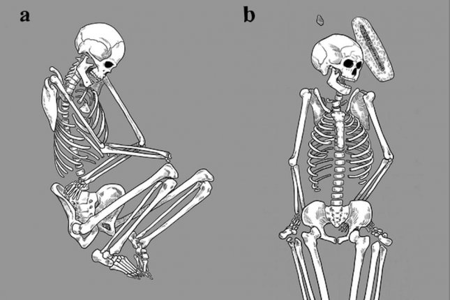 The body on the left is an example of a normal burial carried out by family members. Abnormal burials, featuring bodies in awkward positions, often with broken bones, may be evidence of feudal violence. Photo by Caitlin McPherson/UofA
