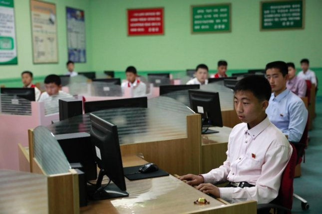 North Korean children at a computer class at the Mangyondae School Children's Palace in Pyongyang, North Korea. File Photo by How Hwee Young/EPA