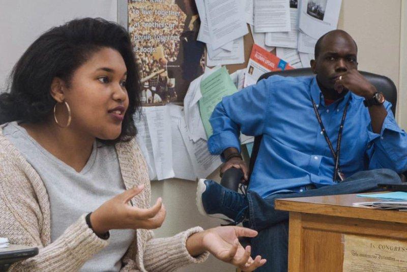 Student Jada Buford (left) speaks in the Starz docuseries America to Me. Photo courtesy of Starz