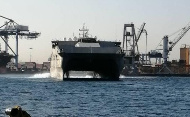 The expeditionary fast transport ship USNA Carson City arrived in Port Sudan, Sudan, on Wednesday, in a how of partnership between the United States and Sudan. Photo courtesy of U.S. Navy 6th Fleet