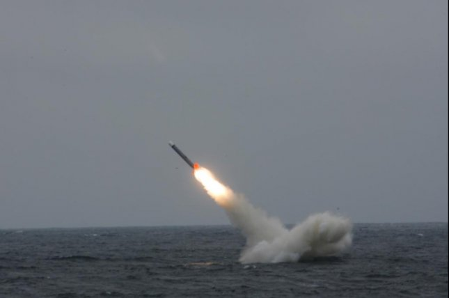 A submarine-launched Tomahawk cruise missile. Raytheon announced Tuesday it staged the first test of new submarine payload tubes on the Virginia-class USS North Dakota. U.S. Navy photo