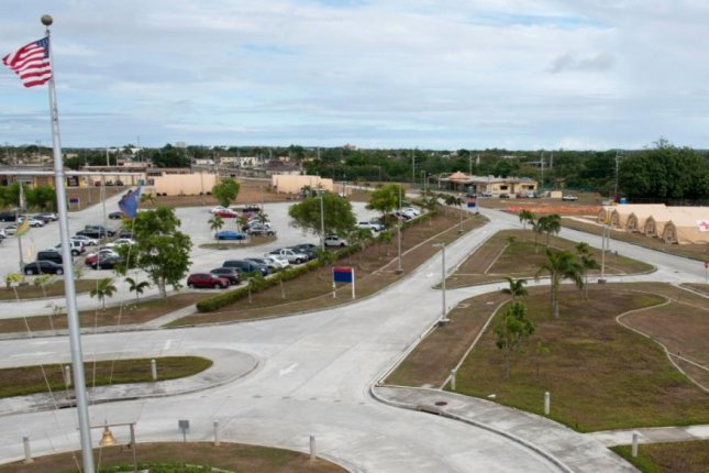 A five-acre adjunct to the U.S. Naval Hospital Guam, visible at upper right, was built by the Navy's Pacific Seabees in three weeks and is now operational. Photo by Senior Airman Zachary Heal/U.S. Indo-Pacific Command