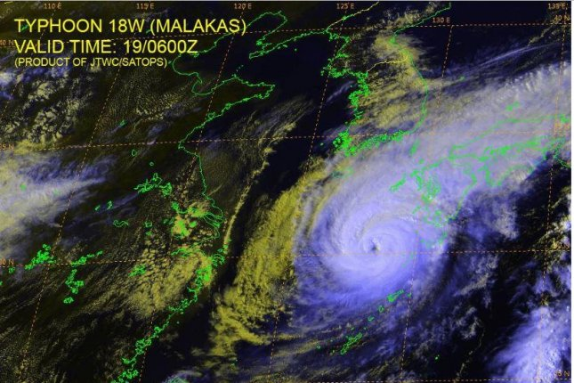 Typhoon Malakas, as a Category 3 typhoon, was moving on northeastward track and was forecast to hit Japan on Tuesday. Satellite image courtesy of U.S. Navy