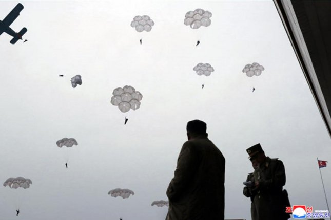 North Korean leader Kim Jong Un guided a parachute training exercise of the country's Korean People's Army on Monday, state-run media reported. Photo by KCNA/Yonhap